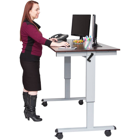 "Luxor 60"" Crank Adjustable Stand Up Desk - Stretch Desks - Height Adjustable Standing Desk"