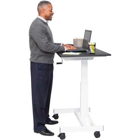 "Luxor 40"" Single Column Crank Stand Up Desk - Stretch Desks - Height Adjustable Standing Desk"