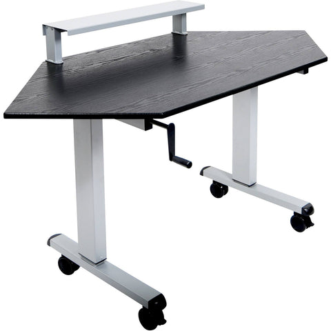"Luxor 60"" Crank Adjustable Standing Corner Desk - Stretch Desks - Height Adjustable Standing Desk"