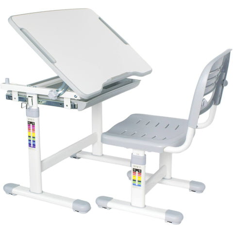 Vivo Height Adjustable Children's Desk with Chair in Gray - Stretch Desks - Height Adjustable Standing Desk