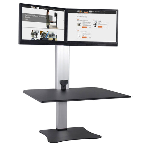 High Rise Electric Dual Monitor Sit Stand Desk Converter - Stretch Desks - Height Adjustable Standing Desk