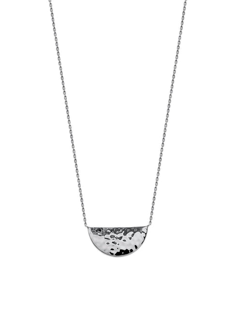 Hammered Large Half Disc Silver Necklace - Artizen Jewelry