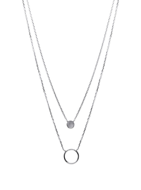 Circle & Disc Silver Necklace - Artizen Jewelry