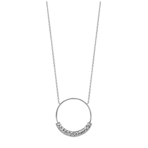 Open Circle Hammared Silver Necklace - Artizen Jewelry