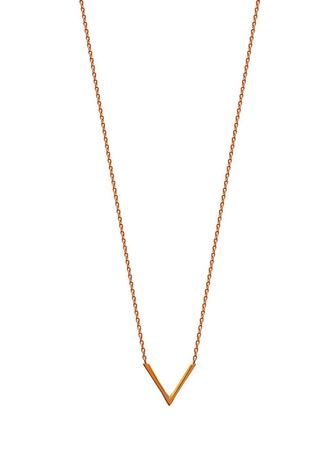 """V"" Gold Plated Necklace - Artizen Jewelry"