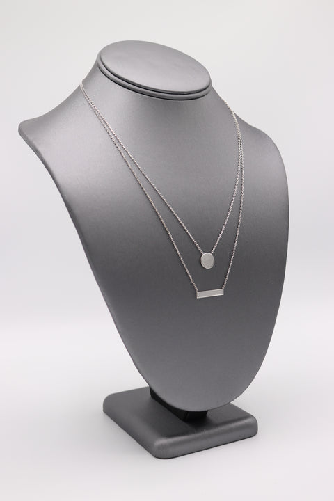 Disc & Bar Silver Necklace - Artizen Jewelry