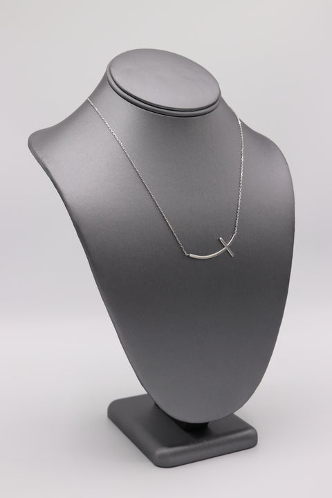 Curved Sideways Cross Silver Necklace - Artizen Jewelry