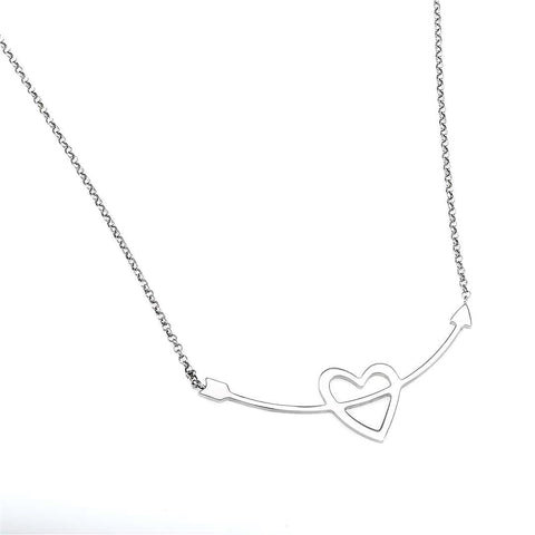 Heart & Arrow Silver Necklace - Artizen Jewelry