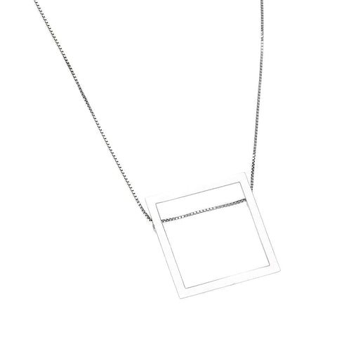 Modern Square Silver Necklace - Artizen Jewelry