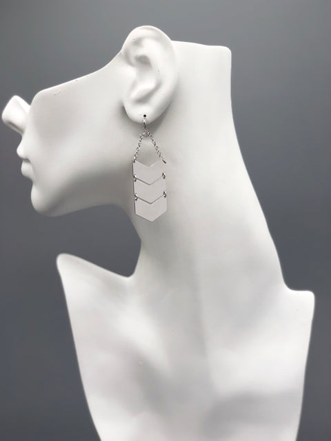 Chevron Silver Earrings - Artizen Jewelry