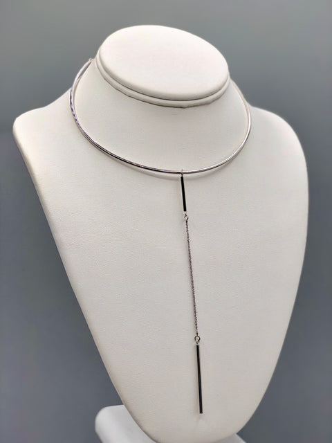Half Circle Silver Choker with Bar Pendant - Artizen Jewelry