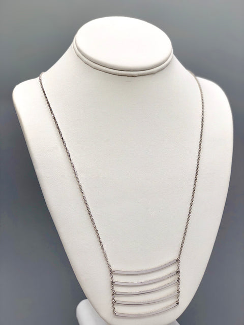 Curved Ladder Silver Necklace - Artizen Jewelry