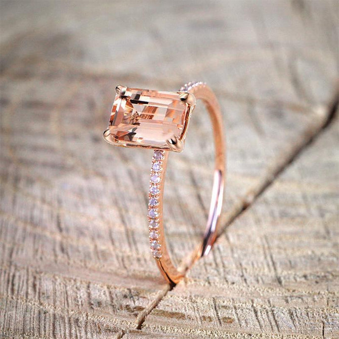 Rings - French Peach Crystal Gem Ring