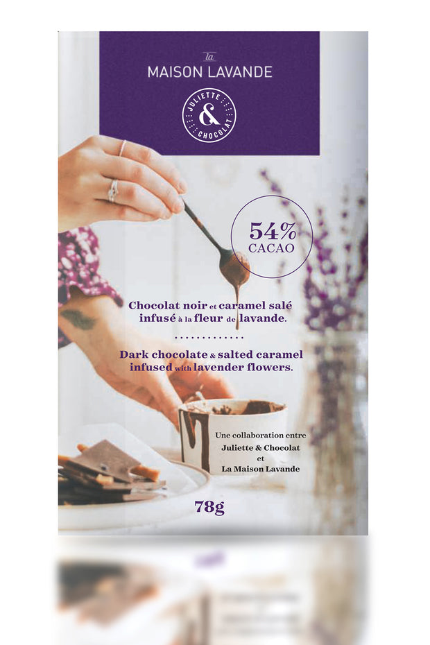 Dark chocolate & salted caramel infused with lavender flowers