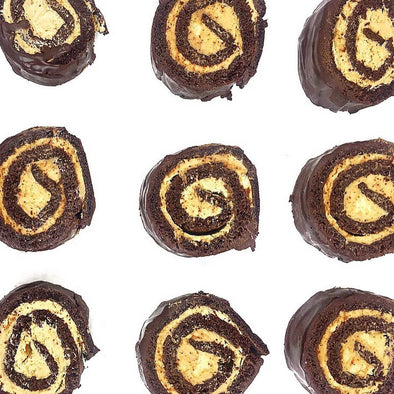 Chocolate Peanut Butter Swiss Rolls