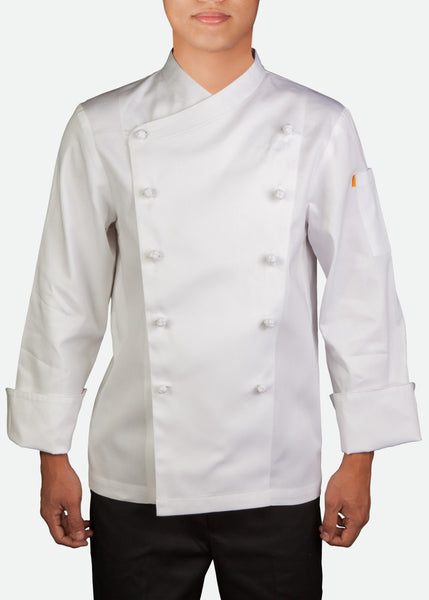 CJK001 Unisex Long Sleeve Classic Chef Jacket with Mandarin Buttons