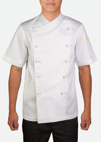 CJK002 Unisex Short Sleeve Classic Chef Jacket with Mandarin Buttons
