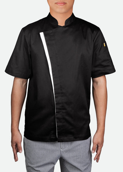 CJK004 Unisex Short Sleeve Modern Chef Jacket with Contrast Trims [ CLEAR STOCKS ]