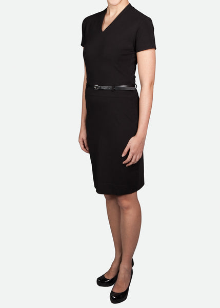 FDR003 Women's V-Neck Dress with Waistband