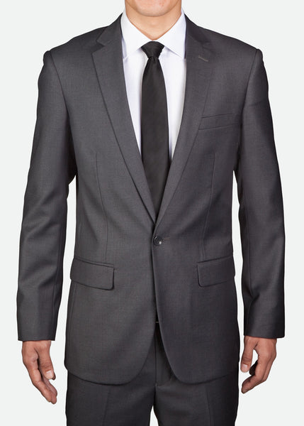 MBZ001 Men's One-Button Jacket with Notch Lapel, Regular Fit