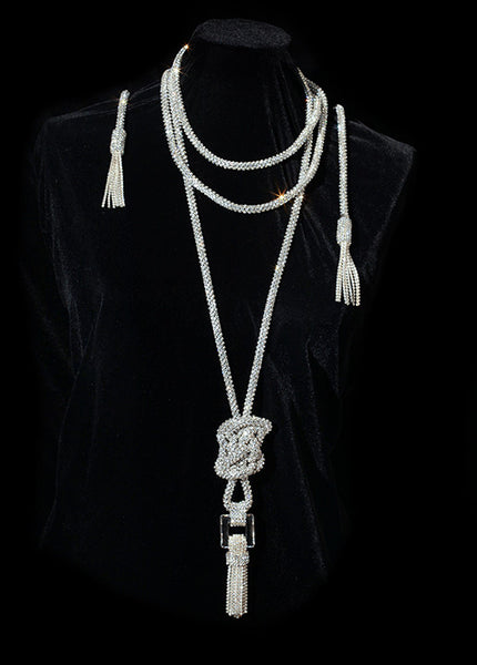 Swarovski Crystal Mesh Sautoir Rope Necklace