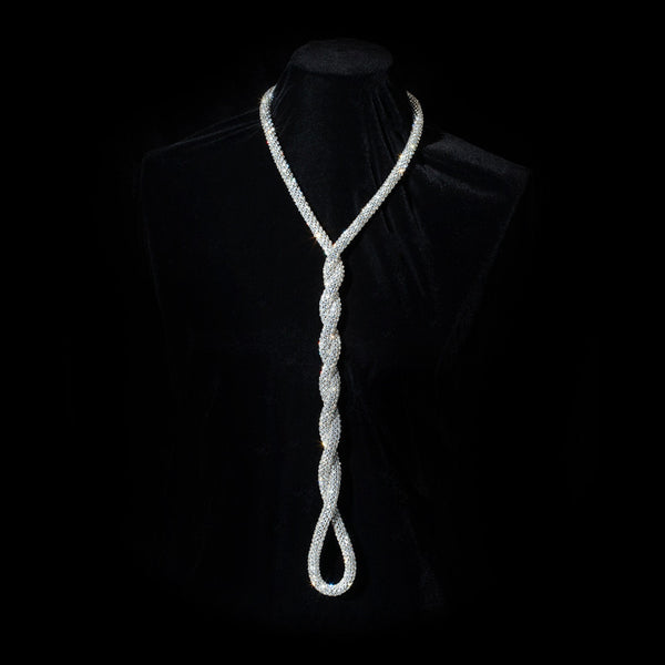 Thick Swarovski Crystal Mesh Rope Necklace