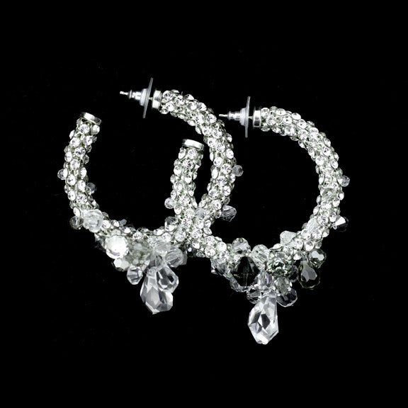 Swarovski Crystal Cluster Hoop Earrings