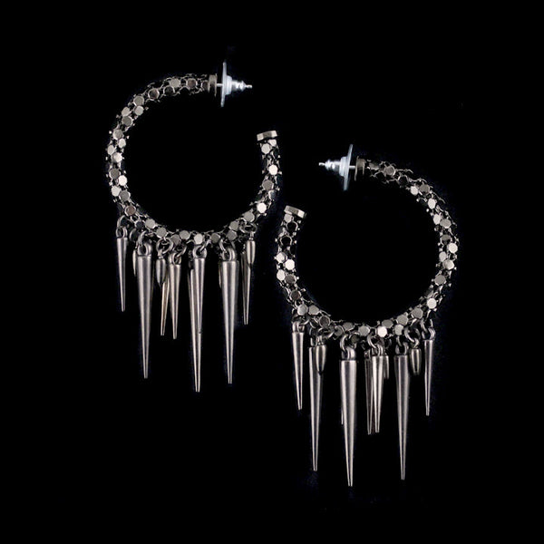 Metal Mesh Hoop Earrings with Spikes