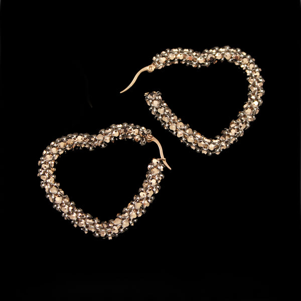 Crystal Mesh Small Heart Hoop Earring