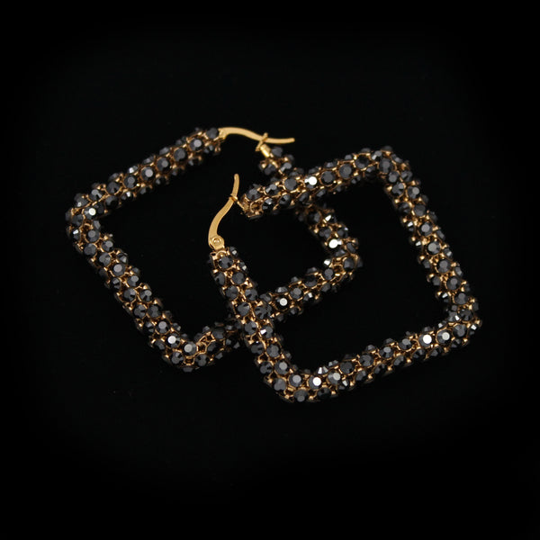 Crystal Mesh Small Square Hoop Earring