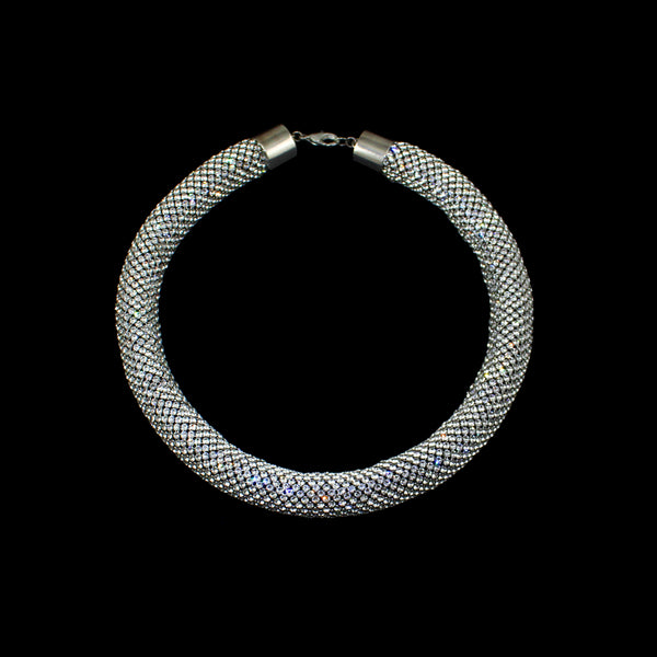 Extra Thick Swarovski Crystal Mesh Rope Necklace