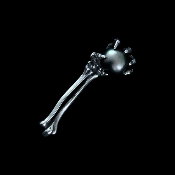 Black Tahitian Pearl Skeleton Arm Pin