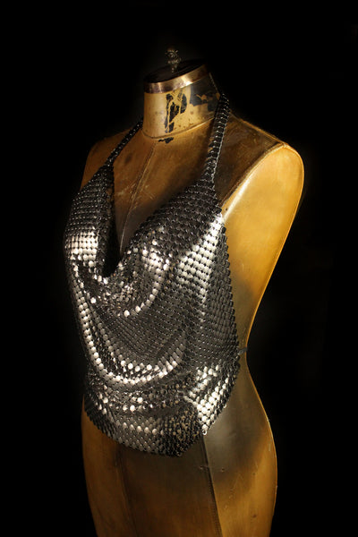 Large Metal Mesh Halter Top