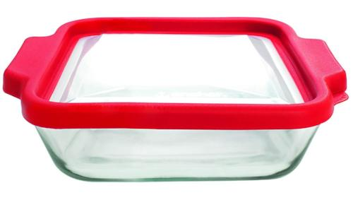 "Truefit 8"" Square Cake Dish with Red Cover"