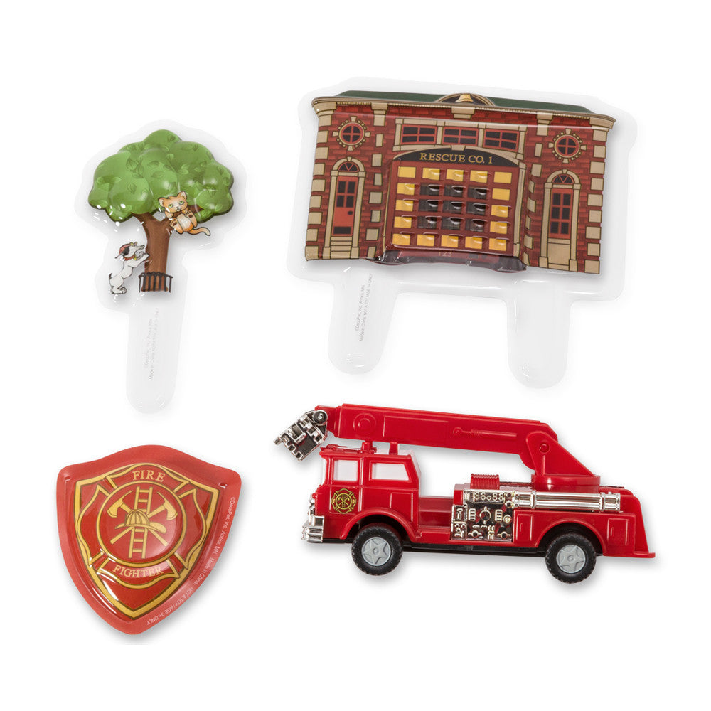 Fire Truck & Station Cake Topper