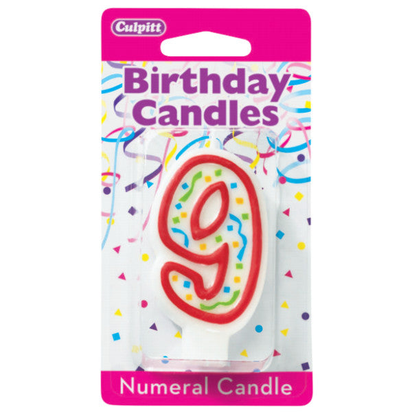 "Candles - Numeral 9, 3""H,"