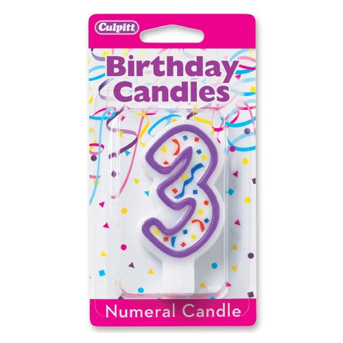 "Numeral 3  Candle, 3""H"