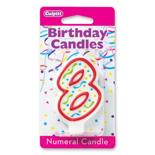 "Candles - Numeral 8 Red, 3""H"