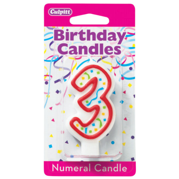 "Candles - Numeral 3, 3""H"
