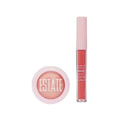 Dew Me in Flushed & Lip Icing in Peach - Estate Cosmetics
