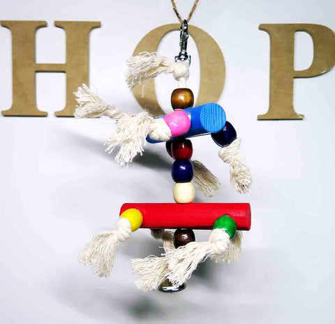 Wooden Toy on Rope with Bell