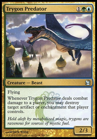 Trygon PredatorModern Masters, Uncommon Creature — Beast 2/3, 1UG (3) Flying Whenever Trygon Predator deals combat damage to a player, you may destroy target artifact or enchantment that player controls. Held aloft by metabolized magic, trygons are ravenous for sources of mystic fuel. Illus. Jack Wang