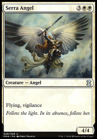 Serra AngelEternal Masters, Uncommon Creature — Angel 4/4, 3WW (5) Flying (This creature can't be blocked except by creatures with flying or reach.) Vigilance (Attacking doesn't cause this creature to tap.) Follow the light. In its absence, follow her. Illus. Greg Staples