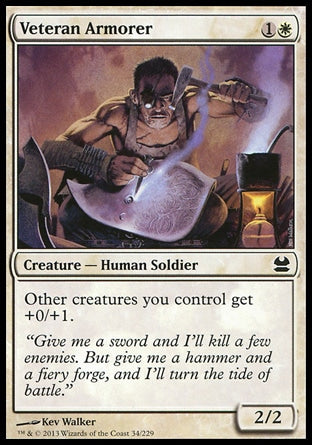 "Veteran ArmorerModern Masters, Common Creature — Human Soldier 2/2, 1W (2) Other creatures you control get +0/+1. ""Give me a sword and I'll kill a few enemies. But give me a hammer and a fiery forge, and I'll turn the tide of battle."" Illus. Kev Walker"