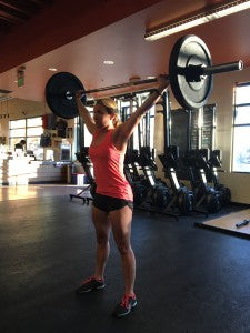 Starting position for the overhead squat (OHS).