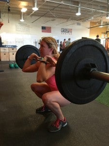 The bottom position of the front squat.