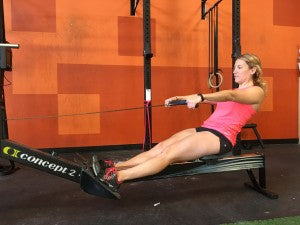 Extension of the legs on the pull phase with a lean back.