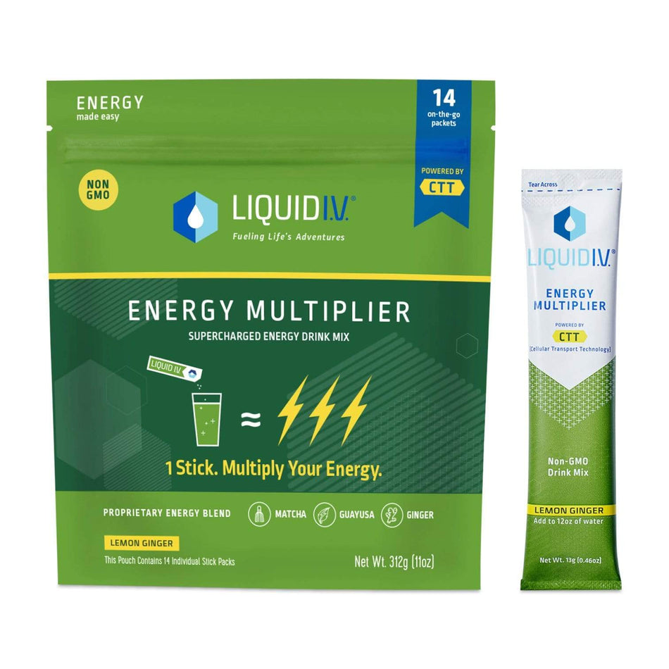 Liquid IV Hydration 14 Packets / Lemon Ginger Liquid IV Energy Multiplier