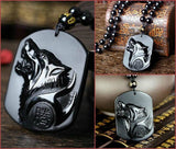 Obsidian Carving Wolf Head Necklace