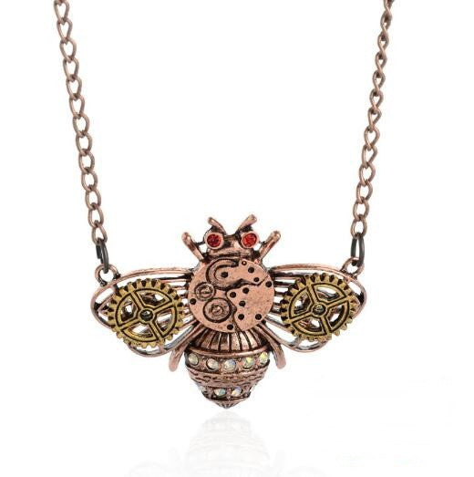 Steampunk Bumble Bee Necklace